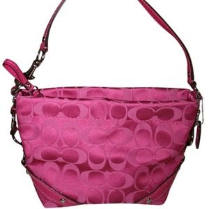 Coach Signature Sateen Carly Hobo Bag in Pink